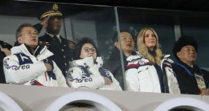 Pyongyang-Washington meeting: South Korean president Moon Jae-in; his wife, Kim Jung-sook; Ivanka Trump; and Gen Kim Yong-chol at the Winter Olympics closing ceremony. Photograph: Lucy Nicholson/Reuters