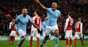 Manchester City's Vincent Kompany celebrates scoring during their win over Arsenal in the Carabao Cup final at Wembley. Photo: Neill Hall/EPA