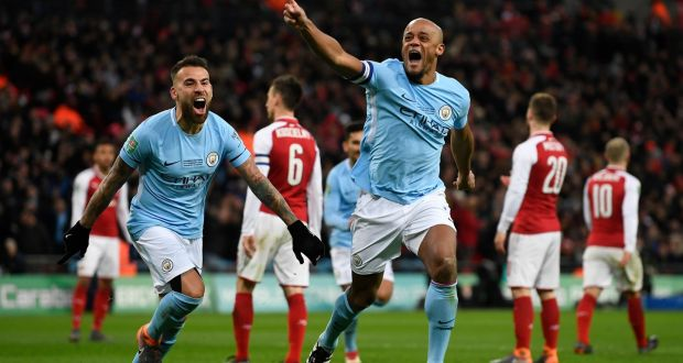 d015d3b18e6 Manchester City s Vincent Kompany celebrates scoring during their win over  Arsenal in the Carabao Cup final
