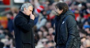 Manchester United manager Jose Mourinho and Chelsea manager Antonio Conte ended their feud in United 2-1 Premier League win at Old Trafford. Photo: Andrew Yates/Reuters