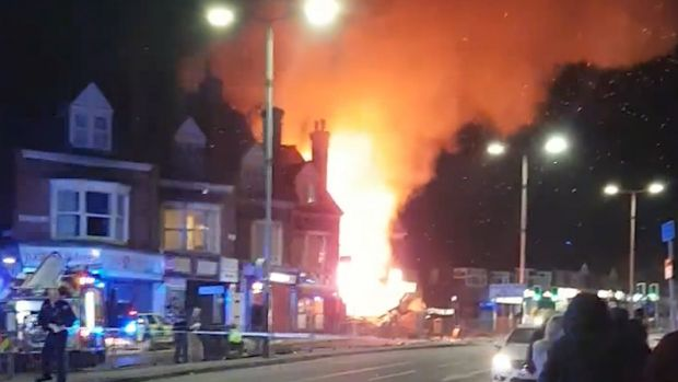 Video grab from the scene after an explosion in Leicester. Photograph: Graeme Hudson/PA Wire