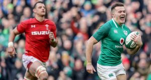 Jacob Stockdale runs in to score Ireland's crucial fifth try against Wales. Photograph: Dan Sheridan/Inpho