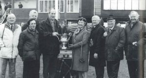 The 'Inch Lady' syndicate receiving the Tom Dreaper trophy at Fairyhouse from Anne, Duchess of Westminster in 1993: Paddy O'Flynn, Liam Burke (trainer) Jerry Couglan, Eamonn Miskella, Peter Noonan and Billy Browne