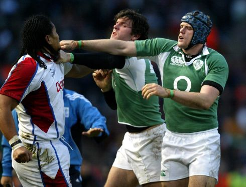 Getting to grips with Alesana Tuilagi on Ireland debut against the Pacific Islands in 2006. Photograph: Dan Sheridan/Inpho