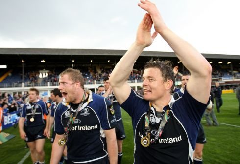 The first of many. With Brian O'Driscoll after Magners League success in 2008. Photograph: Billy Stickland/Inpho
