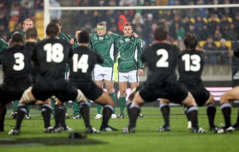 Facing down the Haka with Tommy Bowe in June 2008. Ireland lost 22-11. Photograph: Billy Stickland/Inpho