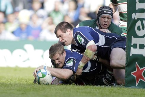 Heaslip reaches to score in the 2009 Heineken Cup final, in which Leinster beat Leicester to earn their maiden title. Photograph: Graham Stuart/Inpho