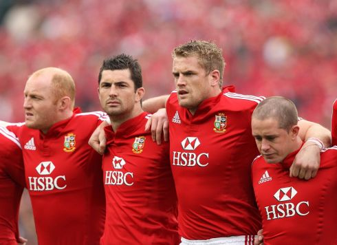 With Martyn Williams, Rob Kearney,  and Shane Williams ahead of the first Lions Test in 2009. Photograph: Billy Stickland/Inpho