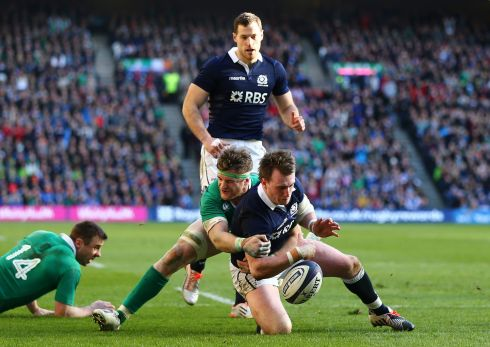 Tackling Stuart Hogg at Murrayfield. Ireland beat Scotland to secure successive Six Nations Championships. Photograph: Cathal Noonan/Inpho