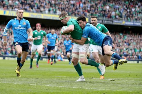Scoring the 2016 World Rugby try of the year against Italy in Dublin. Photograph: Dan Sheridan/Inpho