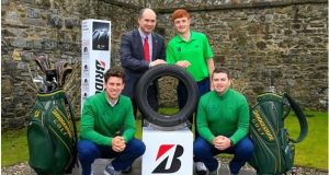 Colm Conyngham (Marketing and Public Relations Manager, Bridgestone Tyres, Ireland) with Alex Gleeson (Castle), Ronan Mullarney (Galway) and Caolan Rafferty (Dundalk) at the launch of the Bridgestone Orders of Merit at GUI Headquarters, Maynooth.