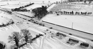 Snow fall on the Naas dual carriage way near Rathcoole, Co Dublin, on January 10th, 1982. Photograph: Pat Langan/The Irish Times