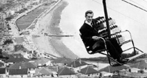 Using the chairlift to deliver Coca Cola to the Eagle's Nest restaurant on Bray Head in 1963