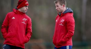 "Munster head coach Johann van Graan with scrum coach Jerry Flannery. ""You can't say enough about Conor Murray. His work-rate, what he brings to the team, his calm demeanour."" Photograph: Ryan Byrne/Inpho"