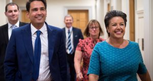 New Zealand National Party leader Simon Bridges with deputy leader Paula Bennett in Wellington on Tuesday. Photograph:  Mark Tantrum/New Zealand National Party/AFP Photo