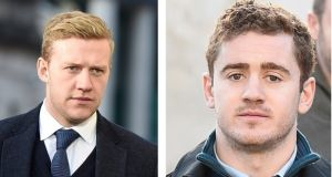 Ireland and Ulster rugby players Stuart Olding (left) and Paddy Jackson. Photographs: Michael Cooper/PA Wire.