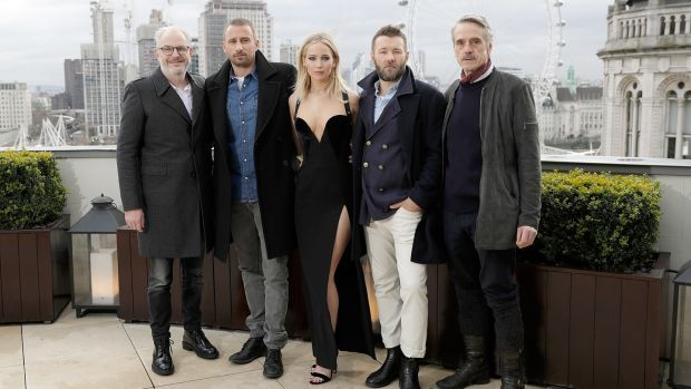Dressing down: Francis Lawrence, Matthias Schoenaerts, Jennifer Lawrence, Joel Edgerton and Jeremy Irons during the 'Red Sparrow' photocall at The Corinthia Hotel in London on February 20th. Photograph: John Phillips/Getty Images