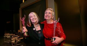 Eleanor Methven, who won  the special tribute award for 2017, and Emma Jordan, winner of best director, at The Irish Times  theatre awards on  February 25th at the National Concert Hall. Photograph Nick Bradshaw