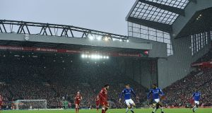 Snow Falls at Anfield for the Merseyside derby last December. Photograph: John Powell/Liverpool FC via Getty Images