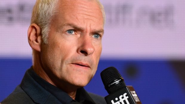"Martin McDonagh at a press conference for ""Three Billboards Outside Ebbing, Missouri"". Photograph: Warren Toda"
