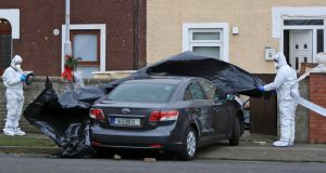 Gardai pictured on Monday  morning at the scene of the shooting of Kenneth Finn at Moatview Gardens, Coolock, Dublin. Photograph:  Colin Keegan/Collins Dublin.
