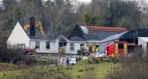 Emergency services attend the scene of the tragic house fire at Molly Road, Derrylin in Co Fermanagh. Photograph: Mal McCann