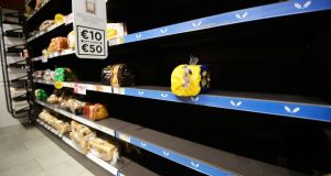 Bread supplies dwindle at Dunne's Stores' St Stephens Green outlet. Photograph: Cyril Byrne/The Irish Times