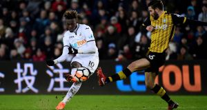Swansea City's Tammy Abraham shoots at goal during Tuesday night's FA Cup replay. Photograph: Rebecca Naden/Reuters