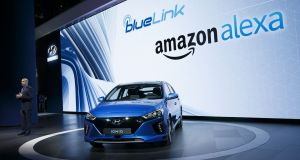 Hyundai partnered with  Amazon Alexa for the 2017 Hyundai Ioniq electric vehicle. Photograph: Patrick T Fallon/Bloomberg