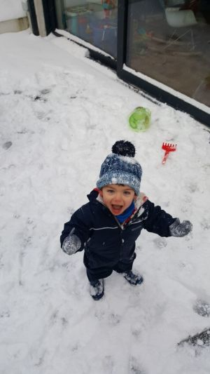 Liam Dony's first snow at aged 21 months. Rathfarnham. Photograph: Doireann Dony