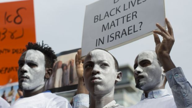 Rwandan refugees in Israel demonstrate after Israeli authorities decided to deport refugees.Photograph: Kobi Wolf/Anadolu Agency/Getty Images