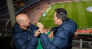 Cesar and Jose Richard, who is  registered as deaf-blind, have become  online sensations after a video of them emerged showing the carer using sign language and a board to allow Jose to experience the Catalan derby