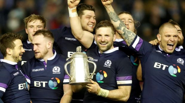 John Barclay with the Calcutta Cup. Photograph: Russell Cheyne/Reuters