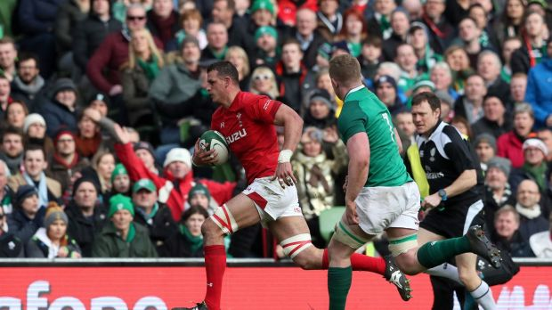 Aaron Shingler scores for Wales in Dublin. Photograph: Brian Lawless/PA