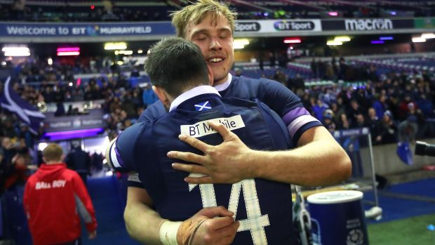 Jonny Gray with Tommy Seymour after Scotland's win over England. Photograph: James Crombie/Inpho