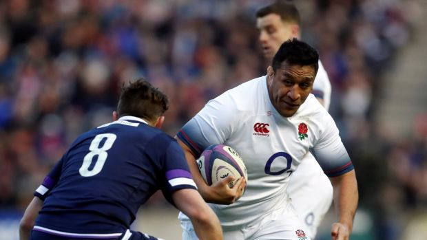 Mako Vunipola carries against Scotland. Photograph: Russell Cheyne/Reuters