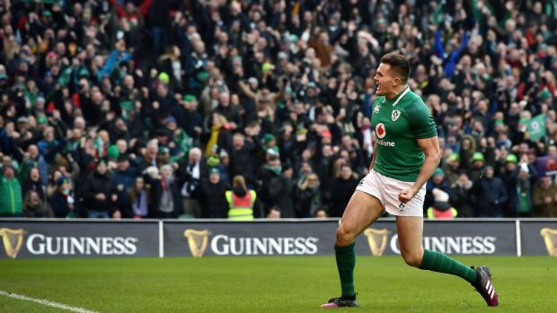 Jacob Stockdale is the tournament's top scorer with four tries from three games. Photograph: Charles McQuillan/Getty