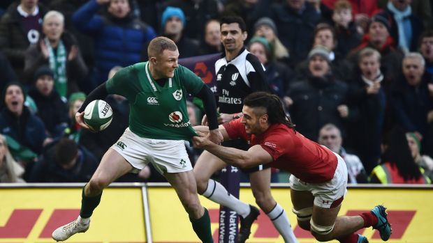 Keith Earls is tackled by Josh Navidi during Ireland's win over Wales. Photograph: Charles McQuillan/Getty