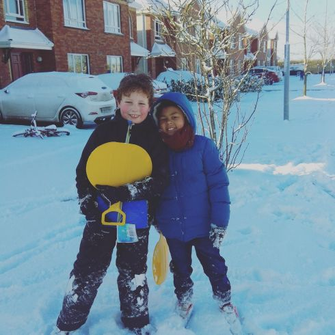 Finn Coleman and Corey Craven from Mucklagh Co Offaly enjoying the snow. Photograph: Michelle Coleman
