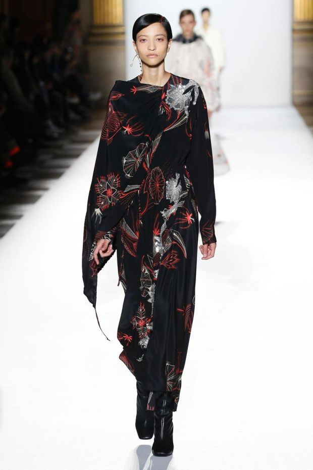A model walks the runway during the Dries Van Noten show as part of the Paris Fashion Week Womenswear Fall/Winter 2018/2019 on February 28, 2018 in Paris, France.
