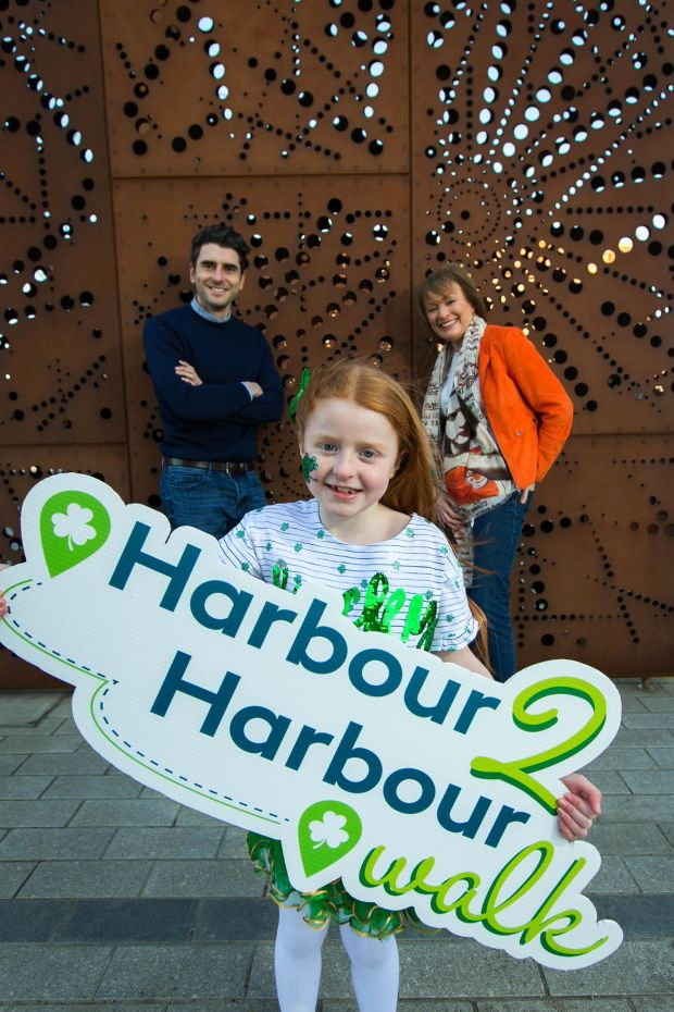 Dublin footballer Bernard Brogan, RTÉ's Mary Kennedy and Leah Conway, (8), from Finglas, Dublin at the launch of Aware's Harbour2Harbour Walk.