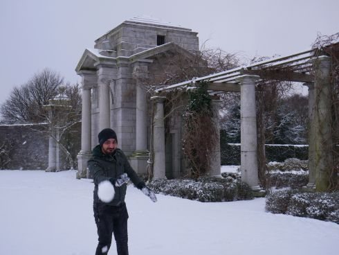 Harvinder Singh throwing snowball at Irish National War Memorial Gardens. Photograph: Jaspreet Kaur