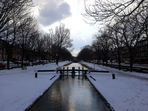 Grand Canal under a blanket of snow. Photograph: Maeve Kerr