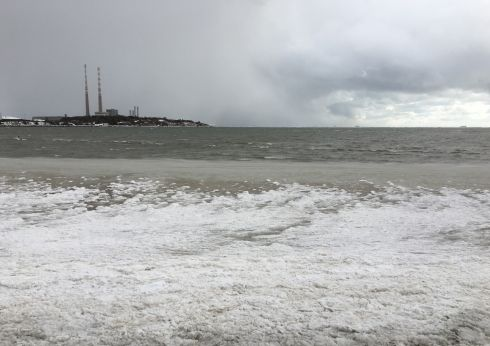 Icy seas at Sandymount. Photograph: Niamh Fahy