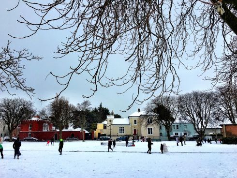 Children enjoying their snow day on Sandymount Green. Photograph: Niamh Fahy