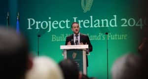 Taoiseach Leo Varadkar launching Project Ireland 2040 at Sligo Institute of Technology. Committing €116bn over a 10-year period, the plan has the potential to address many infrastructural issues. Photograph: Alan Betson