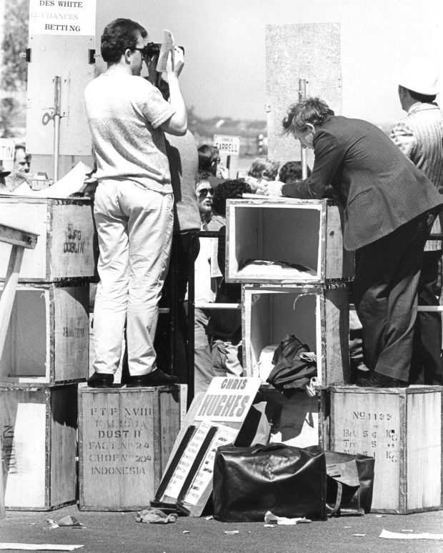 Tea boxes are used for stands by Bookmakers at the races at the Phoenix Park racecourse on June 3rd, 1985. Photograph: Eddie Kelly/The Irish Times
