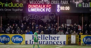Limerick were hammered 8-0 by Dundalk at Oriel Park. Photograph: Morgan Treacy/Inpho