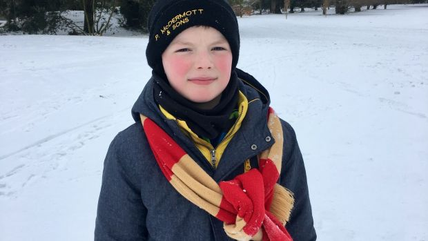 Rory O'Kane, pre snowball fight, in St Anne's Park, Dublin