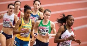 Ireland's Ciara Mageean on her way to finishing fourth in her heat at the 2017 European Indoor Athletics Championships. Photograph: Sasa Pahic Szabo/Inpho